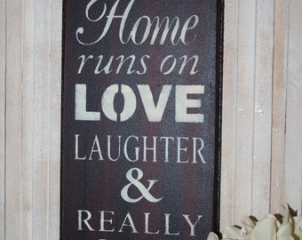 Beer Sign - This Home Runs on Love Laughter & Really Cold Beer - Funny Bar Sign - Bar Decor - Bar Room Signage - Love Sign - Beer Sign Decor