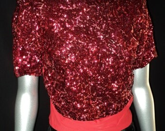 TEMP HOLD 1930's Art Deco 3 Piece Ensemble Black Velvet Skirt Red Sequin Top with Matching jacket Fully Lined Wearable