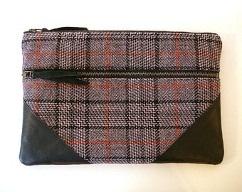 Large Zipper Clutch Plum Tweed and Leather
