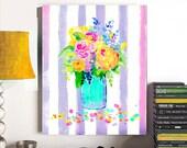 Art Canvas, Watercolor Floral Bouquet, Wrapped Canvas, Modern Art Canvas, Watercolor Flowers, Digital Art Canvas, Wall Art, Home Decor