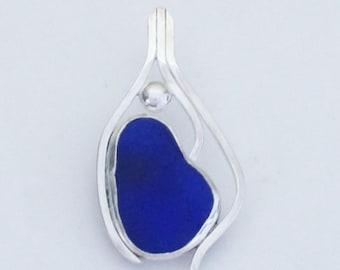 Sea Glass Jewelry - Sterling Cobalt Sea Glass Pendant