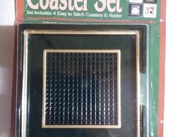 Needleform 5 Piece 7 Mesh Canvas Black Plastic Coaster Set 1988 NOS