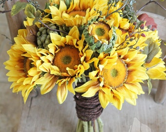 Rustic Golden Sunflower Wedding Bridal Bouquet