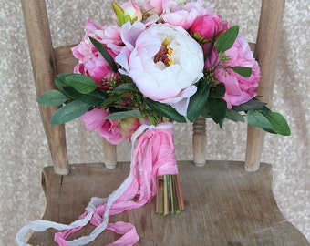 Hot Pink and White Peony Silk Flower Wedding Bouquet
