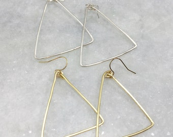 Geometric Earrings | Hammered Wire Earrings | Gold or Silver Triangle Earrings | E50008