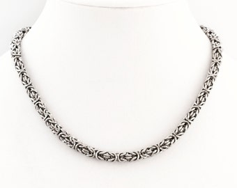 Beyond Basic Necklace in Square On Edge Stainless Steel Byzantine Chainmaille