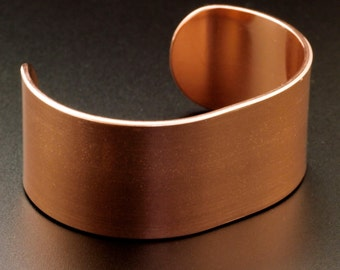 Solid Copper Bangle Blank - 1 inch wide - 14 gauge - 100% Guarantee