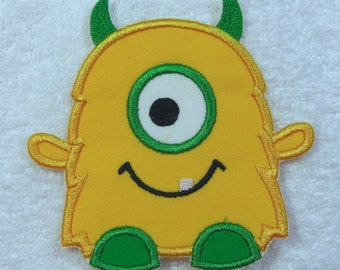 Little Monster Fabric Embroidered Iron On Applique Patch Ready to Ship