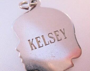 10% OFF SALE Silhouette Girl Head Charm Sterling Silver 1973 KELSEY Vintage Jewelry Jewellery
