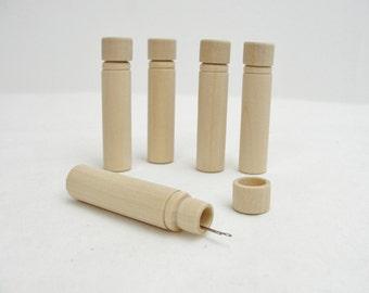 Wooden needle case, diy needle box, wooden needle case set of 5