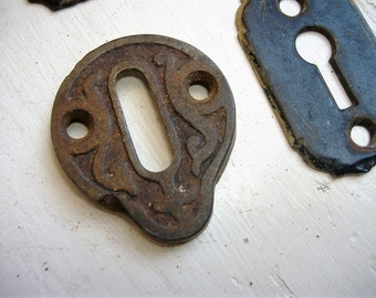 Antique Eastlake Solid Cast Iron Escutcheon. Unique Design. Keyhole Cover. Key Plate. Authentic Victorian Hardware.