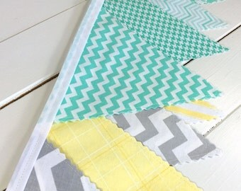 Bunting Fabric Banner, Fabric Flags, Nursery Decor, Photography Prop, Garland, Baby Shower - Yellow, Gray, Grey, Mint Green, Chevron