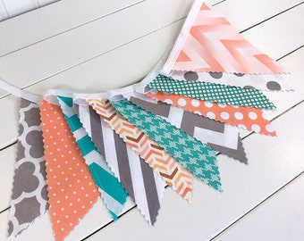 Bunting Banner, Photo Prop, Fabric Flags, Birthday Decoration, Nursery Decor, Baby Shower - Turquoise, Peach, Gray, Chevron and Dots