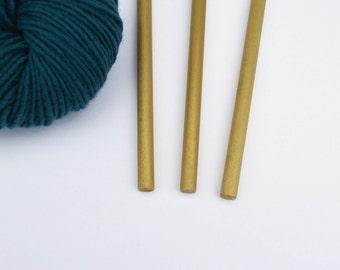 "Dowels for Hanging Wall Art Weavings - Gold Finish - Set of 3 - 3/8"" x 11"""