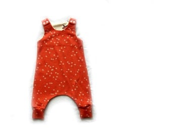 Baby Harem Romper, dungarees,baby clothes in coral winks