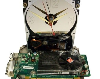 Hard Drive Clock with a Full Green Graphics Circuit Board & Fan as the Base. Unique Clock. FEE SHIPPING USA!