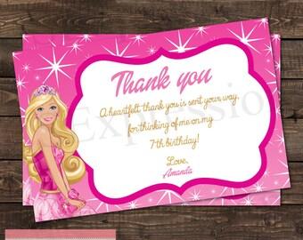 Barbie Birthday Thank You Card