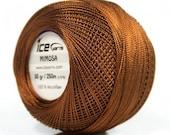 Brown Mimosa Size 10 Microfiber Crochet Thread - Ice 39145 - 50 gram 273 yards - For Bedspread, Needlepoint, Cross Stitch, Fiber Jewelry