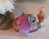 Velvet Easter Egg Centerpiece, Vintage Jewel, Velvet Ribbon, Lilac, Vintage flowers