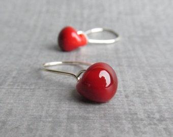 Blood Red Earrings, Red Lampwork Earrings, Glass Drop Earrings, Handmade Wire Earrings, Small Dangle Earrings, Sterling Silver Earrings