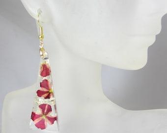 Red Variegated  Verbena,  Real Flower Earrings, Pressed Flowers (1934)