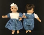 Doll Clothes For Bitty Baby Girl and Boy Twin Dolls Country Blue With White Polka Dots Dress for Girl and Boy Overalls Outfits