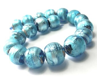 Vintage Beads - Distressed Silver Foil Turquoise Colour Beads (16mm)