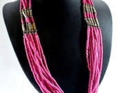 Dark Pink Multi-Strand, Beaded Folk Primitive Vintage Made in India Necklace and Earrings