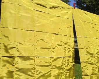 NOS Vintage Satin Sheen Curtains Pea Green Gold RETRO