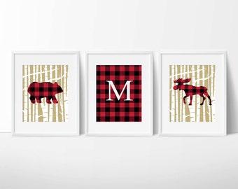 Lumberjack Buffalo Plaid Bear and Moose Wall Art / Prints Only / Birch Tree Nursery Cabin