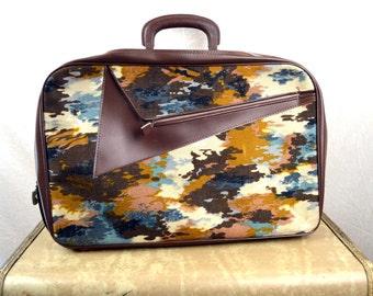 Vintage 60s Mod Camo FUN Luggage Travel Overnight Bag Suitcase