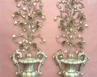 Pair Vintage Italian Gilt Burnished Silver and Gold Tole Floral Rose Urn Wall Scones Metal and Hand Carve Wood