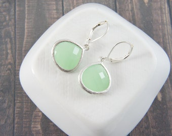 mint green silver lever back  earrings, bridal, wedding, bridesmaid, gift