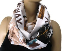 American Icons scarf,New York city,Marilyn Monroe, James Dean, Elvis Presley,Statue of Liberty,Broadway,European cotton infinity scarf