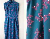 1940s rayon novelty print dress | sz M