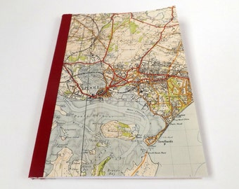 Bournemouth 1940 #6 - Poole - Recycled Vintage Map Notebook