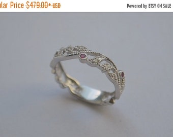 SALE Floral Eternity Band with Millgrain, 14 K White Gold with Burma Spinel and Diamonds