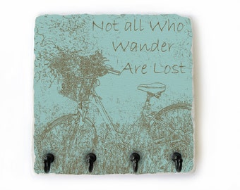 Not All Who Wander Are Lost Key Hook, Teal Key Rack, Jewelry Organizing Hooks, Wall Key Holder, Hooks for Keys, Key Hanger   (74)