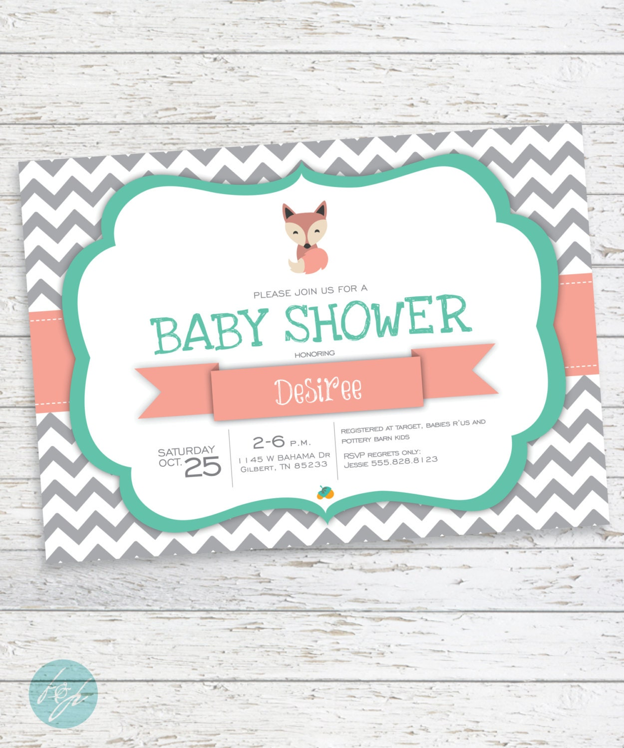 fox baby shower invitation fox invitation by flairandpaper on etsy