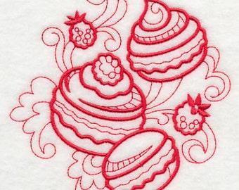 Macaroons embroidered White Cotton Kitchen Tea Towel