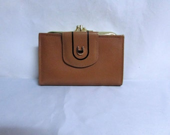 Vintage British Tan Leather Bi Fold Wallet - currency, ids, credit cards and coins pockets