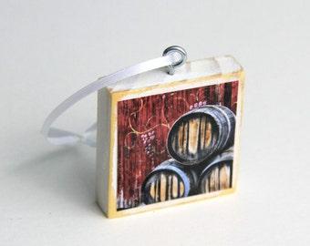 Rustic Ornament, Wine Barrels, Wine Art, 2X2 Wood, Christmas Decor, Holiday Decoration