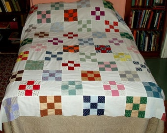 "VINTAGE QUILT TOP 9 patch,81x74"",double bed, flowers,stripes,polka dots,red,green,mustard,aqua,navy blue,white,yellow,hunter,plum,mint,rust"
