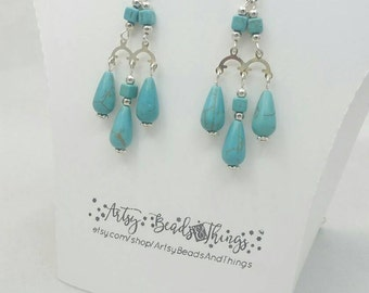Chandelier earrings Turquoise (Magnesite) Silver plated.