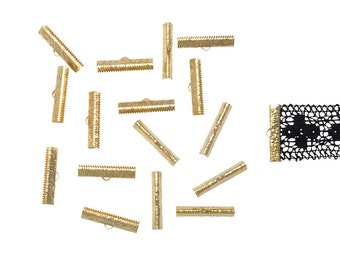 150 pieces  30mm ( 1 3/16 inch ) Gold Ribbon Clamp End Crimps - Artisan Series