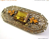 Love Yourself Sale Art Deco Czech Brass Filigree Brooch with Topaz Glass and Enamel