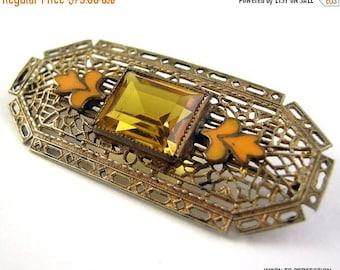 Love Yourself Sale Art Deco Czech Brass Filigree Brooch with Topaz Glass and Enamel