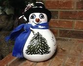 Hand Painted Gourd Snowmen  Wintertime Decoration  Large Snowman Christmas