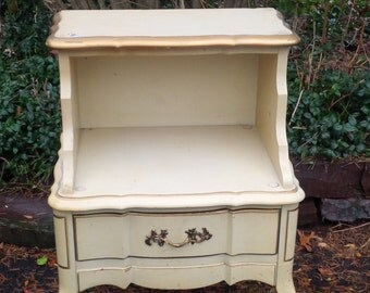 MiMi Boudoir Bedside Table Vintage Serpentine Style French Provincial Poppy Cottage Painted Furniture Paint To Order
