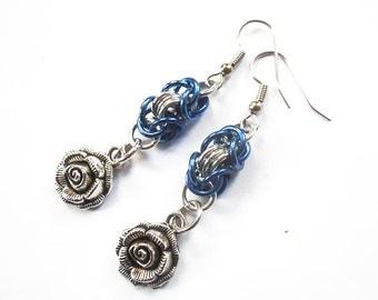 Blue rose earrings, Silver rose jewelry, Flower earrings, Chainmaille flower jewelry, Blue and silver roses